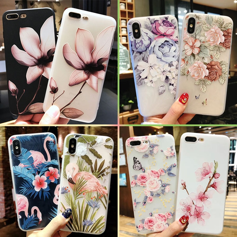 11 Pro Soft Case For iPhone 8 Plus 6S XS MAX XR Phone Cases Protection Silicon Capa Flower For iPhone 7 8 6 Plus 5S X Girl Case