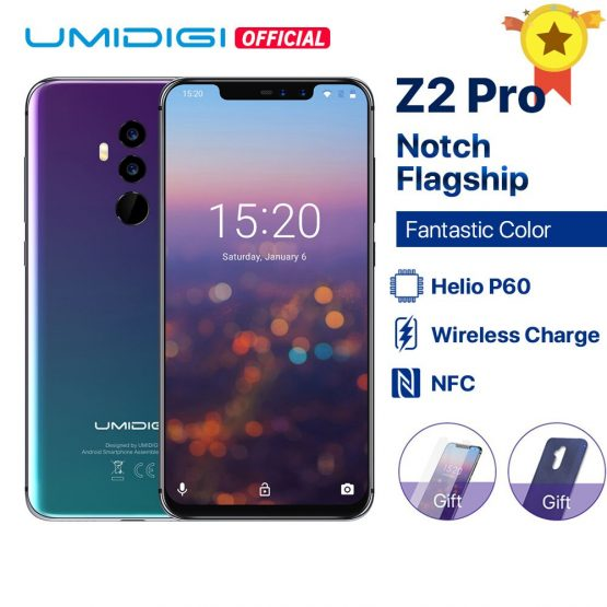 """UMIDIGI Z2 Pro 6.2""""Full screen smartphone Android 8.1 6GB+128GB Helio P60 16MP Quad Lens 4G LTE NFC Wireless charge Mobile phone"""
