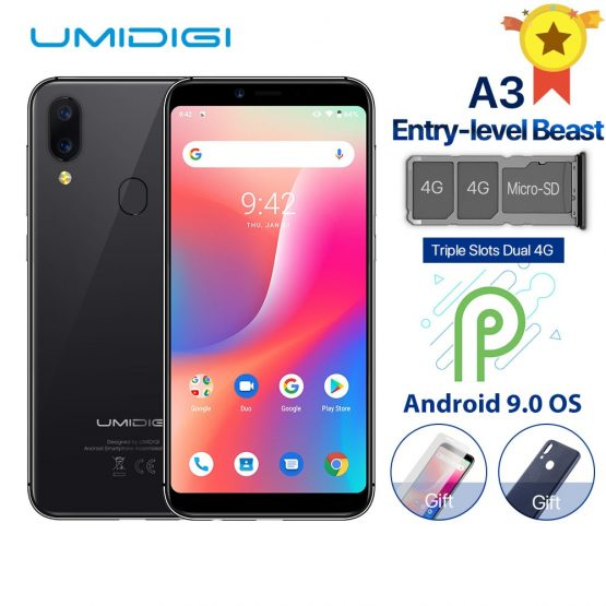 """UMIDIGI A3 Global Band Dual 4G 5.5""""incell HD+display 2GB+16GB Mobile Phone Quad Core Android 9.0 Face Unlock 12MP+5MP Smartphone"""