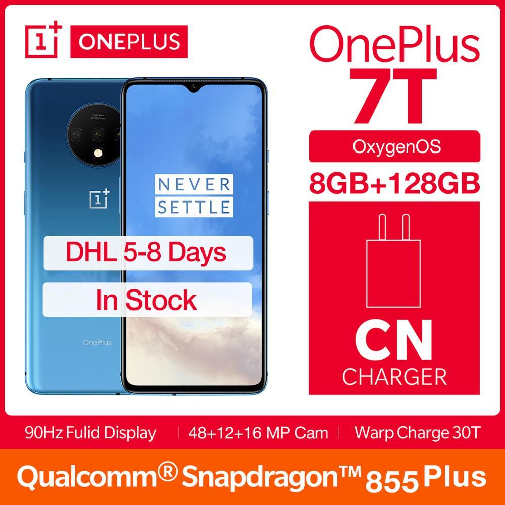 "Global ROM OnePlus 7T Fulid AMOLED 6.55"" Smartphone 90Hz Snapdragon 855 Plus NFC UFS 3.0 48 MP Triple Cameras"