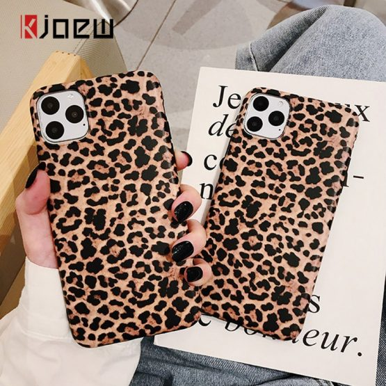 KJOEW Luxury Leopard Print Phone Case For iPhone 7 8 6 6s Plus 11 Pro X XR XS Max Soft IMD Silicone Back Cover Fashion Coque