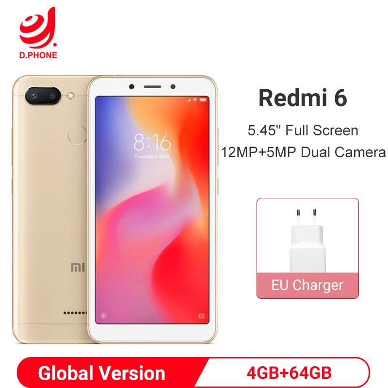 "Global Version Xiaomi Redmi 6 4GB 64GB Smartphone Helio P22 Octa Core Smartphone 12MP+5MP Dual Cameras 5.45"" 18:9 Full Screen"