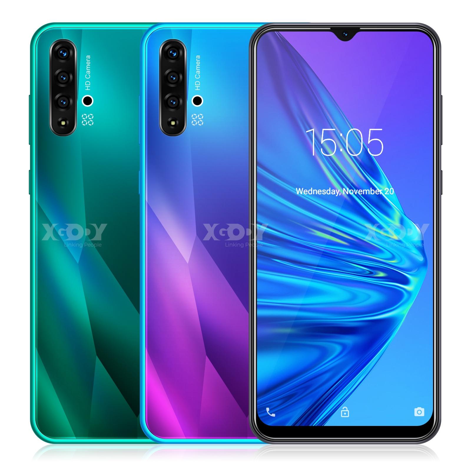 XGODY 6.5inch 19:9 Big Screen 3G Smartphone Android 9.0 1GB 4GB MTK6580 Quad Core 5MP Camera 3000mAh WIFI GPS Mobile Phone