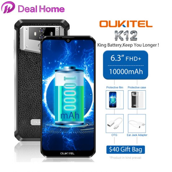 """OUKITEL K12 6.3"""" 19.5:9 Waterdrop Android 9.0 6GB RAM 64GB ROM Smartphone 1080*2340 16MP 10000mAh 5V/6A NFC 4G Mobile Phone"""