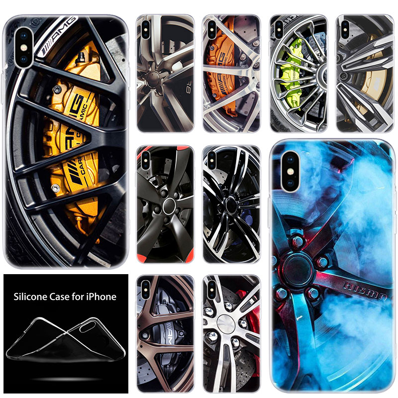 luxury Soft Silicone Phone Case Sports car Wheels rims vehicles for Apple iPhone 11 Pro XS Max X XR 6 6S 7 8 Plus 5 5S SE Cover