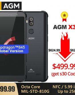 AGM X3 Rugged MIL-STD Smartphone 8G+256G SDM845 Octa Core 5.99'' 24MP Camera Dual BOX Speaker Waterproof Phone NFC Android 8.1