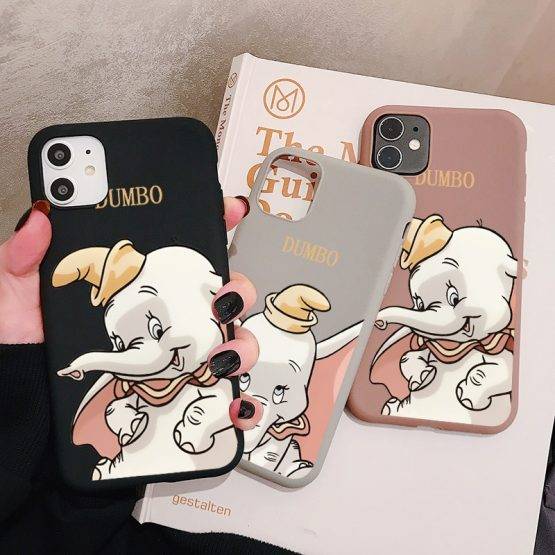 Cartoon Dumbo Elephant Phone Case for iPhone 11 Pro XR X Xs Max 8 7 6 Plus 6S 5S SE Frosted Silicone Cases Soft Back Cover