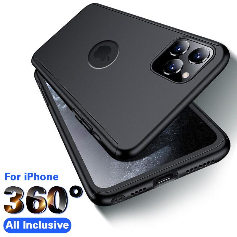 360 Full Cover Phone Case For iPhone 11 X XR XS Max 5 6 6s 7 8 Plus Protective Cover For iPhone X XR 11 Pro max Case With Glass