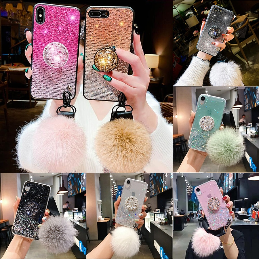 Note10Pro DIY crystal holder+Fur Ball+Strap Phone case For iPhone 11 PRO MAX 6 6s 8 7 Plus XSMAX XR Gradient Bling Glitter Coque