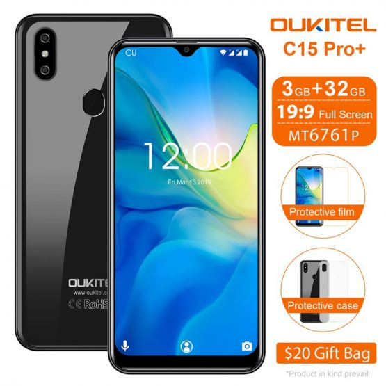 OUKITEL C15 Pro+ 6.088'' Water Drop Screen 4G Smartphone Android 9.0 3GB+32GB Fingerprint cell phones 2.4G/5G WiFi Mobile Phone