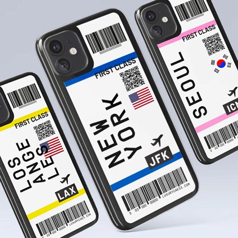 Cute FIRST CLASS PLANE TICKET Phone Case For iPhone 11Pro Max 7 8 Plus X XR XS Max Flight Ticket Letter Soft Silicone Back Cover