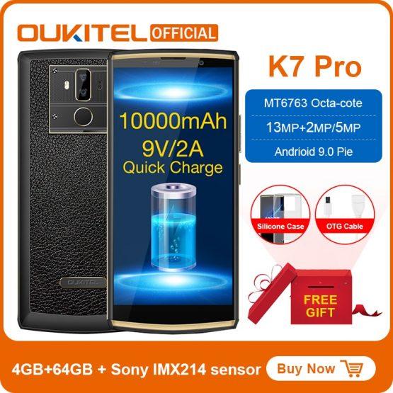 "OUKITEL K7 Pro Smartphone Android 9.0 MT6763 Octa Core 4G RAM 64G ROM 6.0"" FHD+ 18:9 10000mAh Fingerprint 9V/2A Mobile Phone"