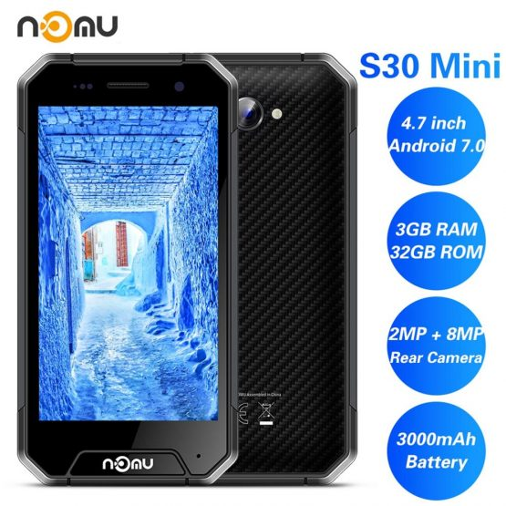 "NOMU S30 Mini SmartPhone 3GB RAM 32GB ROM 4.7"" IP68 Waterproof 4G LTE MTK6737VWT Quad Core Android 7.0 8.0MP 3000MAH Cell Phone"
