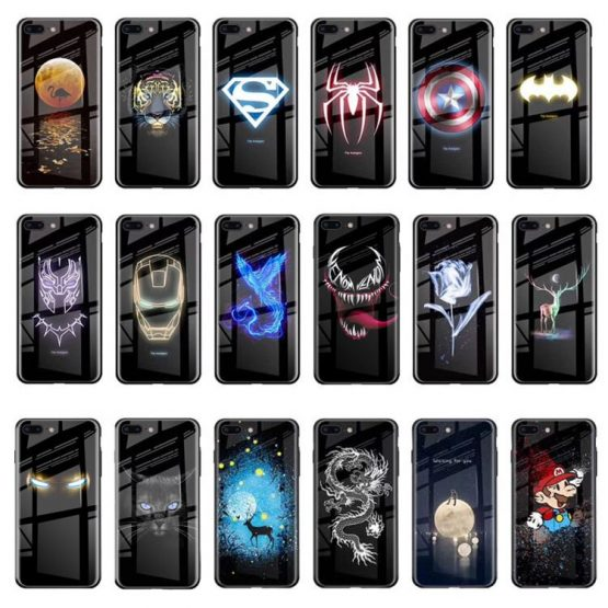 NEW Luminous Glass Case For iphone 11 pro Max 7 8 6s Plus Xs Max Xr case Cover