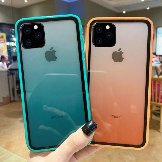 Luxury Transparent Gradient Phone Gradient Color Soft Edge + Acrylic Plate Case For iPhone 11 Max XR X 8 7 Plus 6S Case Cover