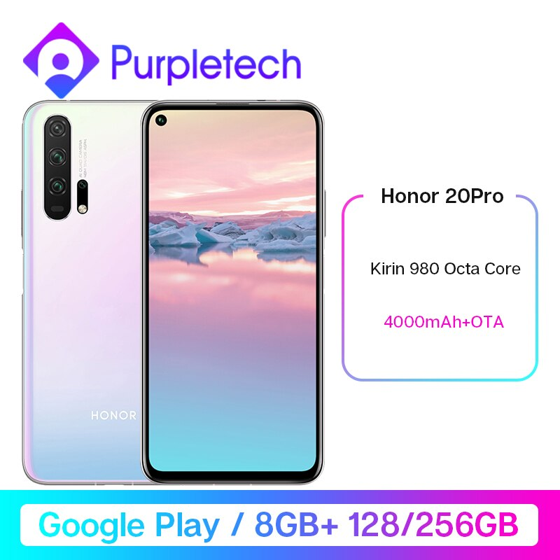 HONOR 20 Pro Google Play Smartphone 6.26''8GB 128GB Kirin 980 Octa Core GPU Turbo3.0 4000mAh 48MP Camera Mobile Phone Android 9