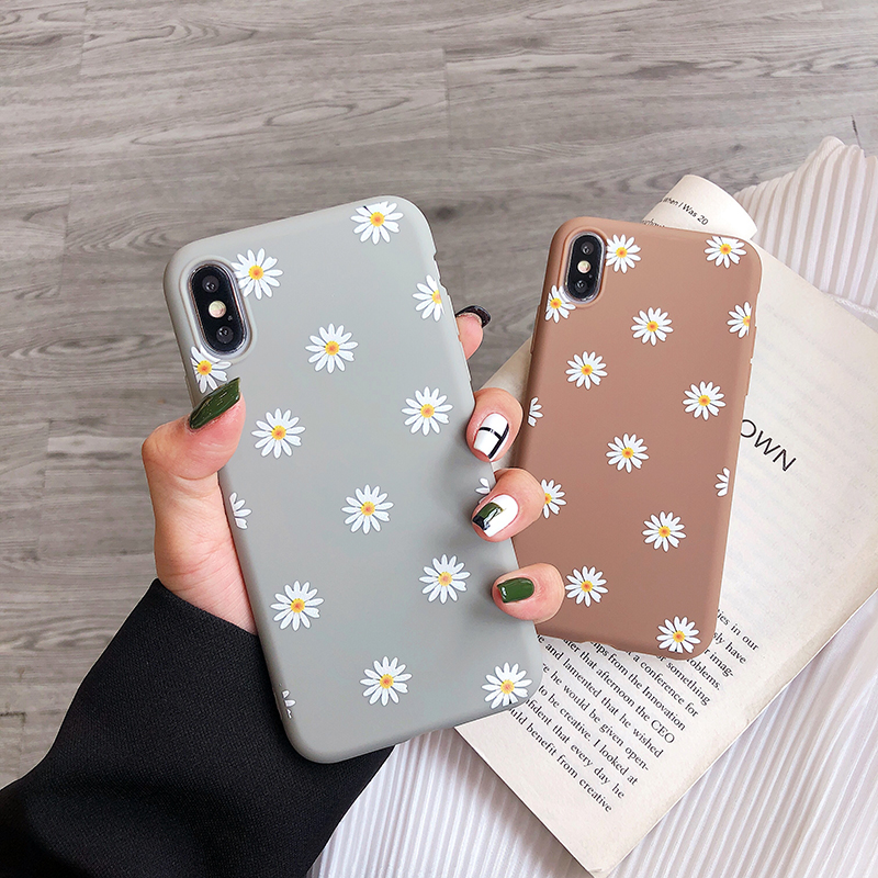 Ottwn For iPhone 11 Case Cute Daisy Phone Cover For iPhone 6 6S 7 8 Plus X XR XS Max 11 Soft Silicon Chic Back Case Cover Capa