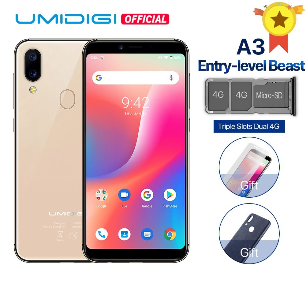 """UMIDIGI A3 Android 9.0 Global Band Dual 4G 5.5""""incell HD+display 2GB+16GB smartphone Quad core Face Unlock 12MP+5MP Mobile phone"""