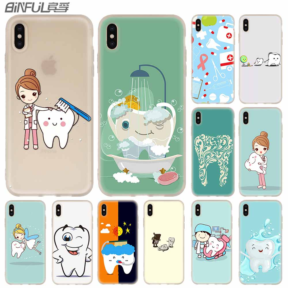 Phone Case Silicone soft Cover for iPhone 11 Pro X XS Max XR 6 6S 7 8 Plus 5 4S SE dental implant Dentist Dental Teeth Pattern