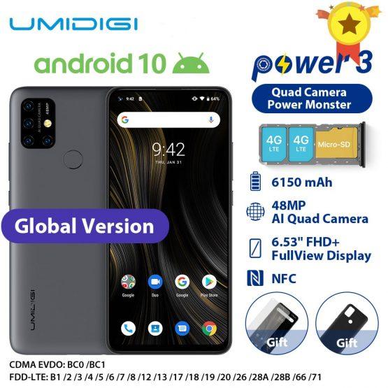 "UMIDIGI Power 3 Moblie Phone Android 10 48MP Quad AI Camera 6150mAh 6.53"" FHD+ 4GB 64GB Helio P60 Global Version Smartphone NFC"