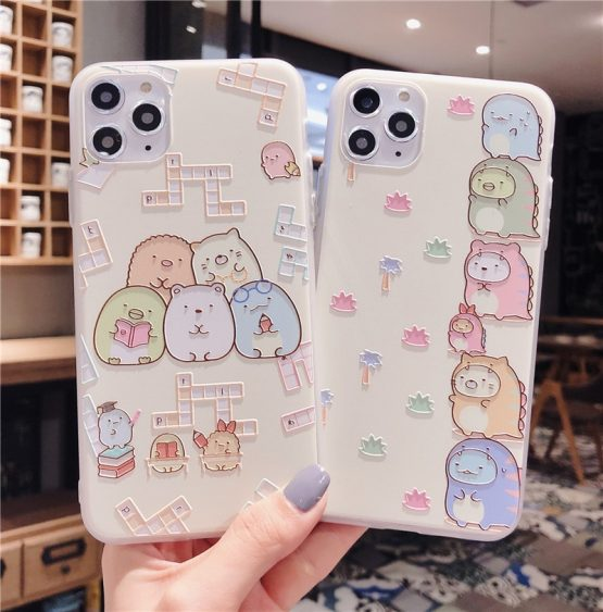 Japan Cartoon Sumikko Gurashi Embossed TPU Back Cover Phone Case for iPhone 11 Pro Max 8 7 Plus X XR Xs Max Protective capa