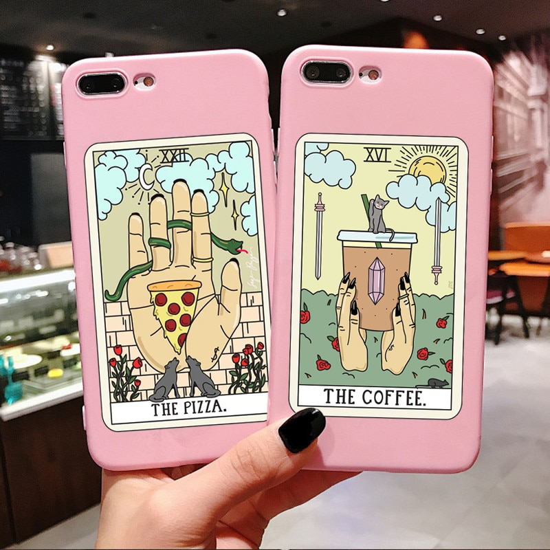 Aesthetic Art pizza coffee Pink silicone Phone Case For iPhone X 6 6s Plus 7 8 Plus XS MAX XR 11 Pro Max SE 5 5s TPU Cover