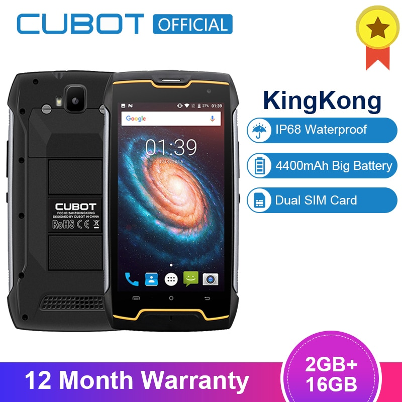 "Cubot KingKong 4400mAh IP68 Waterproof Dustproof Shockproof MT6580 Quad Core 5.0""Android 7.0 Cellular 2G RAM 16G ROM Smartphone"