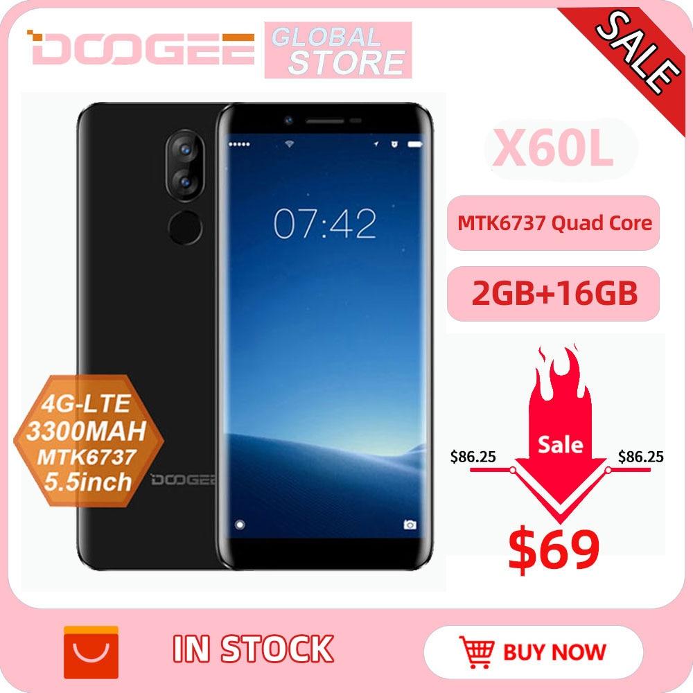 Origina DOOGEE X60L 5.5'' MTK6737 Quad Core 2GB RAM 16GB ROM 4G Dual Camera 13.0MP Android 7.0 3300mAh fingerprint Smartphone