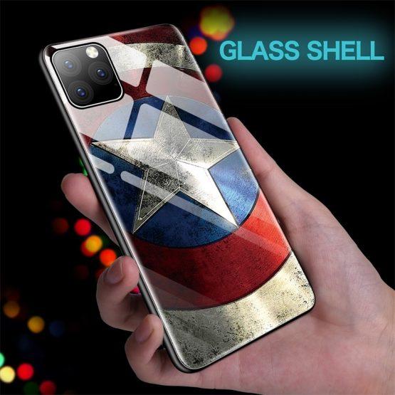 Captain Marvel Iron Man Captain America Glass Phone Case For iPhone 11 Pro Max Captain Marvel Iron Man Captain America Glass Phone Case For iPhone 11 Pro Max XSmax XR XS X 10 8 7 6s 6 Plus Batman Cover Coque.