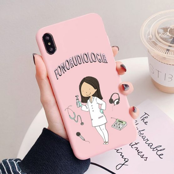 Social services psychology Doctors Nurse Teacher Candy Pink Soft TPU Phone Case Social services psychology Doctors Nurse Teacher Candy Pink Soft TPU Phone Case Cover For iPhone 11 PRO 6SPlus 8 8Plus XSMAX XR.