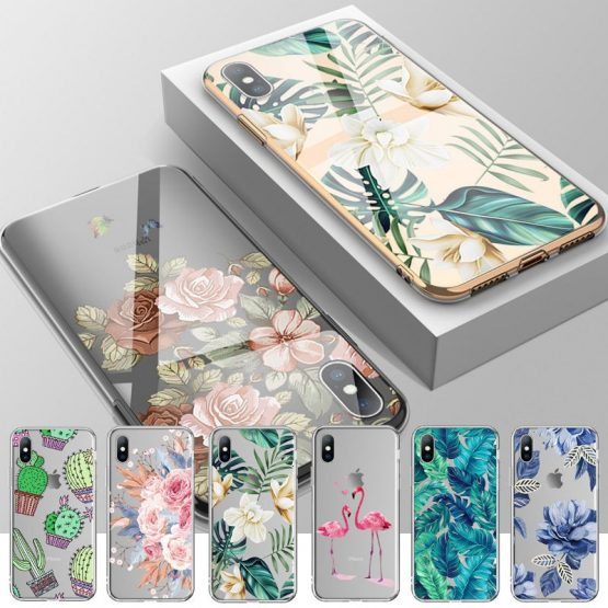 Ottwn Soft Silicone Case For iPhone 11 7 8 6 6S Plus 5 5s SE Retro Leaves Flowers Phone Cases For iPhone XR X XS Max Back Cover