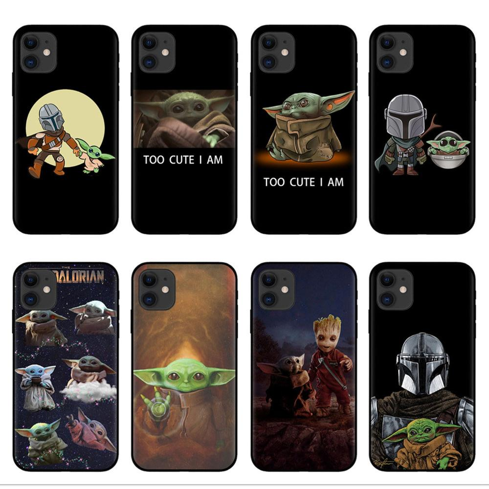 Lovely Baby Yoda soft silicone Phone case shell for iPhones 6 6s 7 8 Plus X XR XS Max 11 Pro Max The Mandalorian Black Tpu Cover