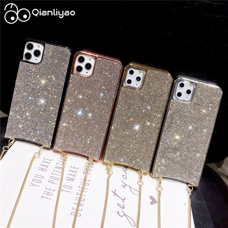 Qianliyao Luxury Rhinestone Case For iPhone 11 Pro Max XR XS Max X 7 8 6 6S Plus Cases Long Gold Metal Chain Lanyard Soft Cover