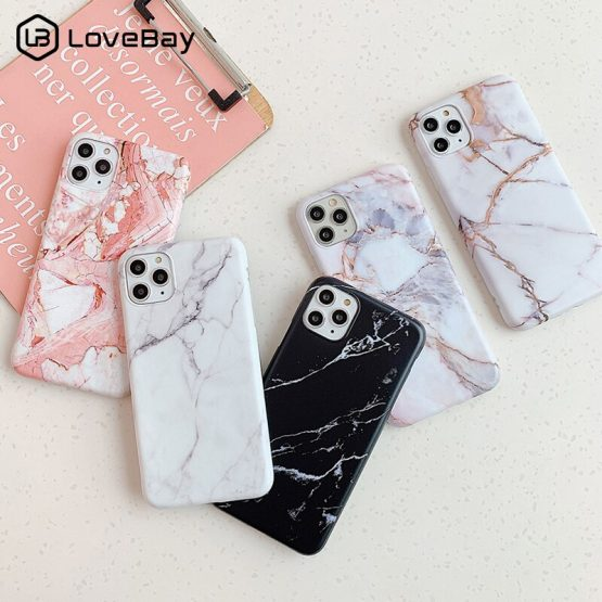 Lovebay For iPhone 11 Marble Case For iPhone 7 8 6 6S Plus 11 Pro X XR XS Max Phone Case Soft IMD Silicone Protection Back Cover