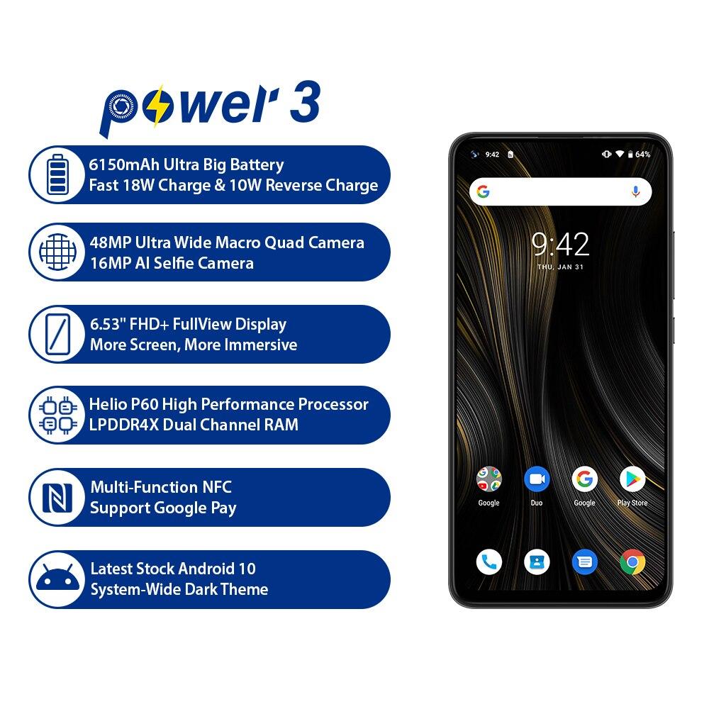 "UMIDIGI Power 3 Phone Android 10 48MP Quad AI Camera 6150mAh 6.53"" FHD+4GB 64GB Helio P60 Global Version Smartphone NFC Pre-sale"
