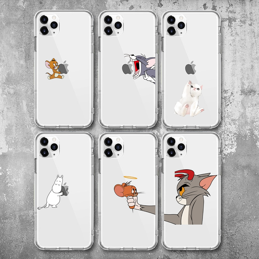 Funny Cartoon Phone Case For iPhone X XS 11Pro Max XR Cute Cat Tom Cover for iphone 8 7 6 6S Plus 5S SE Soft Silicone Clear Case