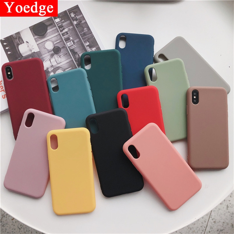 Candy Color Silicone Matte Phone Case For iPhone 11 Pro XR X XS Max 10 6 6S 8 7 Plus Fashion Simple Soft Cover For iPhone X Case