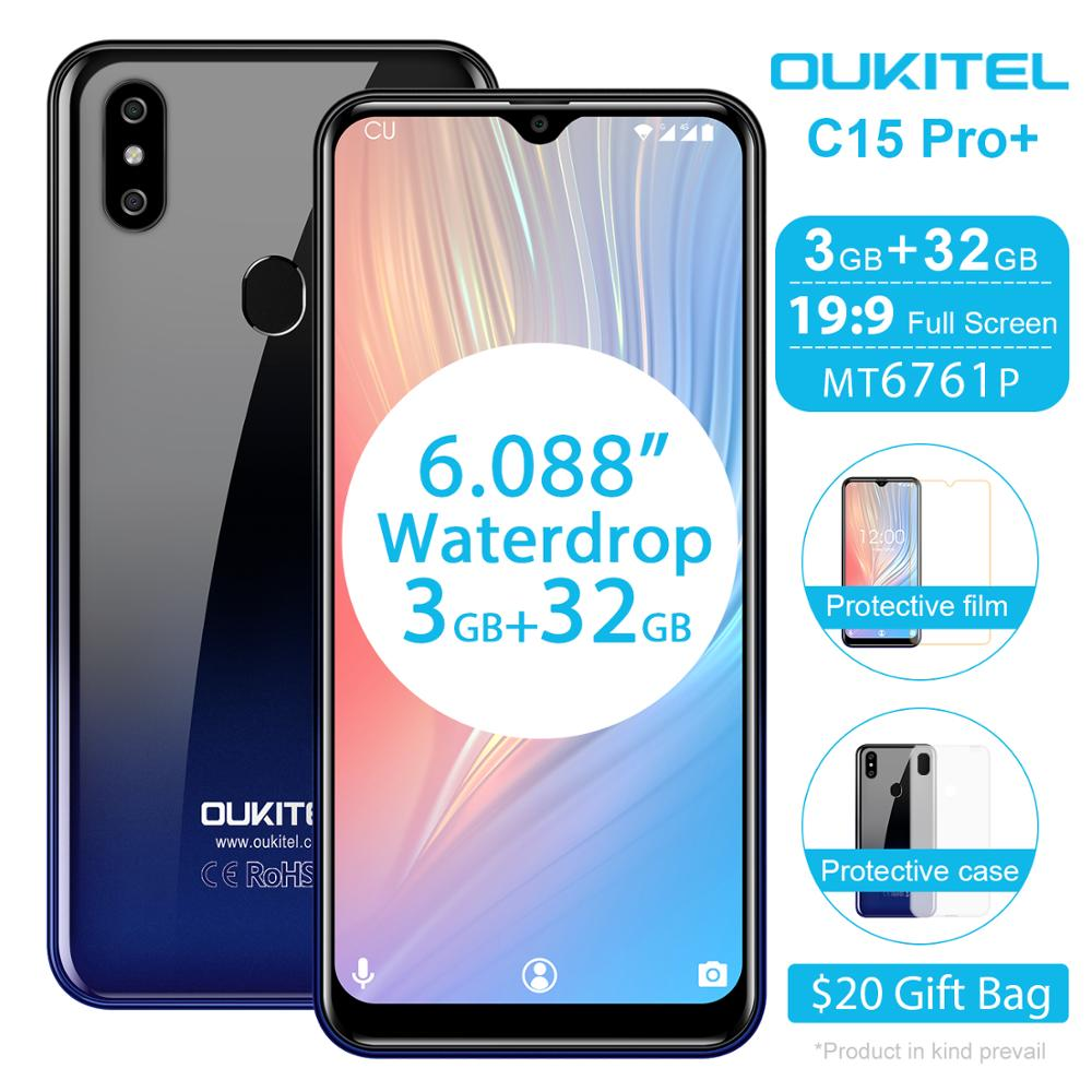OUKITEL C15 Pro+ 6.088'' 19:9 Smartphone Android 9.0 Pie 4G FDD Mobile Phone 3GB 32GB MT6761 Waterdrop Screen Face ID Cellphone