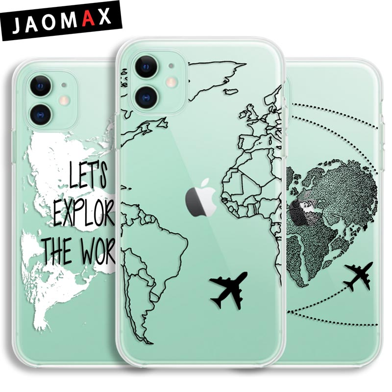 Jaomax Transparent Phone Case For iPhone 11 Pro XR XS Max XS Cases Luxury World Map Travel Soft Tpu Cover for iPhone 6 7p 8p