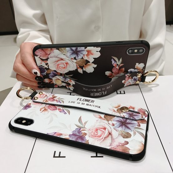 Rose Flowers Wrist Strap phone Cases For iphone 11 pro MAX X XR XS MAX 7 8 6 6s Rose Flowers Wrist Strap phone Cases For iphone 11 pro MAX X XR XS MAX 7 8 6 6s Plus Cover Hand Band Cases Soft TPU Relief Capa.