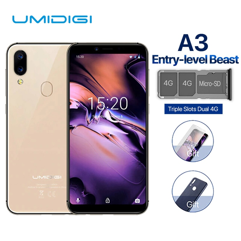 UMIDIGI A3 Smartphone Global Dual 4G Sim 5.5 Inch 18:9 Full Screen Mobile Phone Android 8.1 2+16G Face Fingerprint Cell Phones