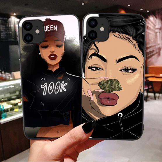 Black African Art phone case for iPhone X XR XS Max 8 7 Plus 6 6s Plus melanin poppin Silicone Cover For iPhone 11 Pro Max 2019