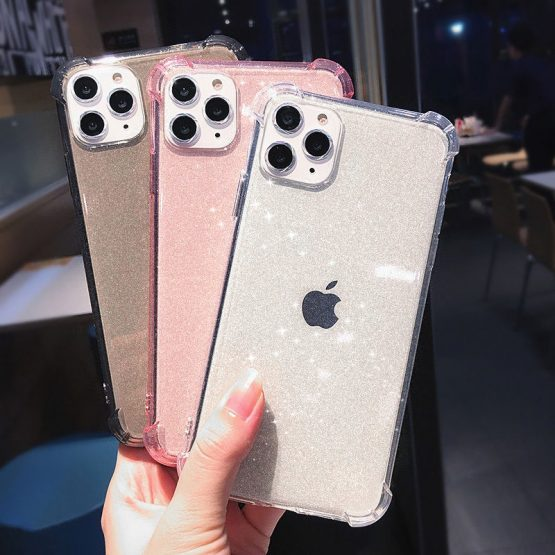 Anti-knock Shining Glitter Powder Phone Case For iPhone 11 11Pro Max X XR XS Max 8 7 6 6S Plus Transparent Soft TPU Back Cover