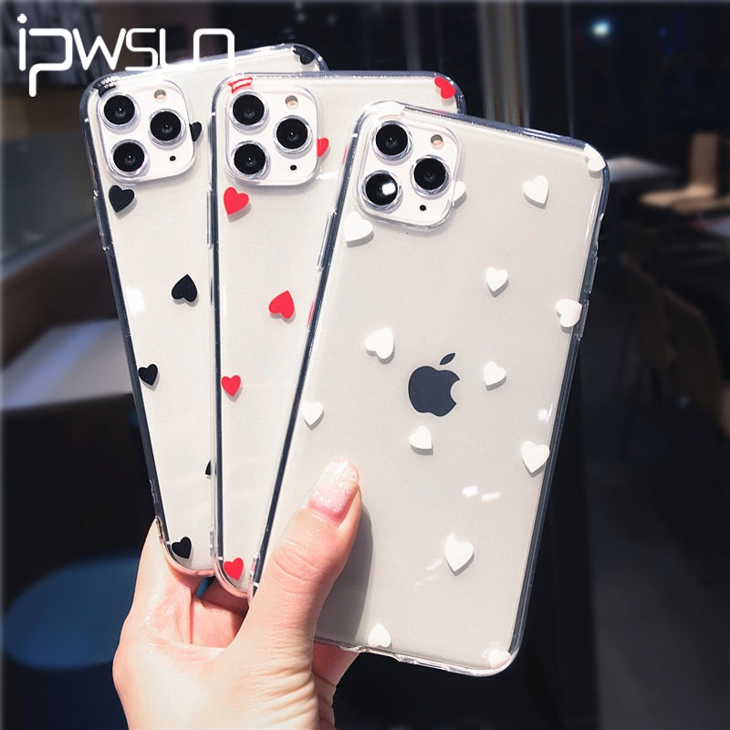 iPWSOO Love Heart Transparent Soft Shell Phone Cases For iPhone 11 Pro Max XR XS X XS Max 7 8 6 6s Plus TPU Clear Cover Coque