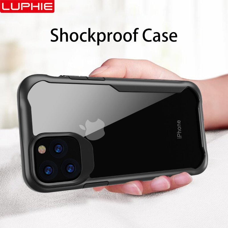LUPHIE Shockproof Armor Case For iPhone 11 Pro Max Transparent Case Cover For iPhone X XS XR MAX 6 7 8 Plus Luxury Silicone Case