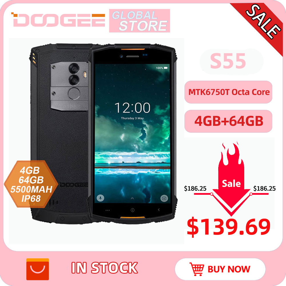 IP68 DOOGEE S55 outdoor waterproof Smartphone MTK6750T Octa Core 4GB RAM 64GB ROM 5500mAh 5.5inch Android 8.0 Dual SIM 13.0MP