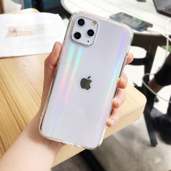 Gradient Rainbow Laser Cases For iPhone X XS Max XR Transparent Soft Fundas For iPhone 11 XR 6 6S 7 8 Plus Clear Acrylic Covers