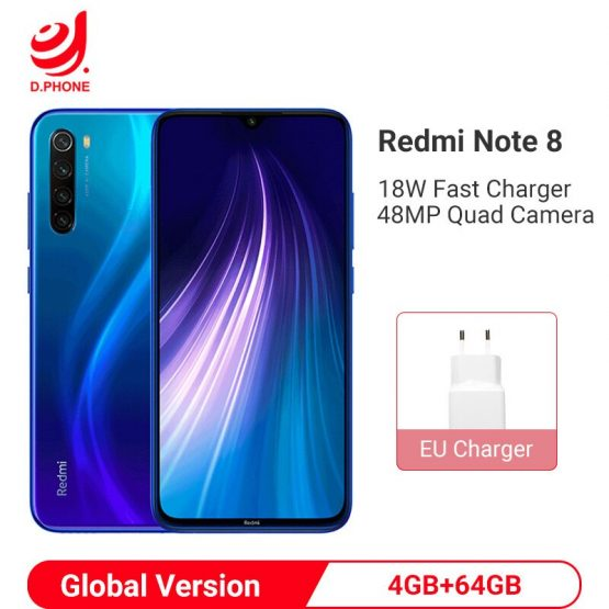 "Global Version Xiaomi Redmi Note 8 4GB 64GB Smartphone Snapdragon 665 Octa Core 48MP Quad Rear Camera 6.3"" 4000mAh Cell Phone"