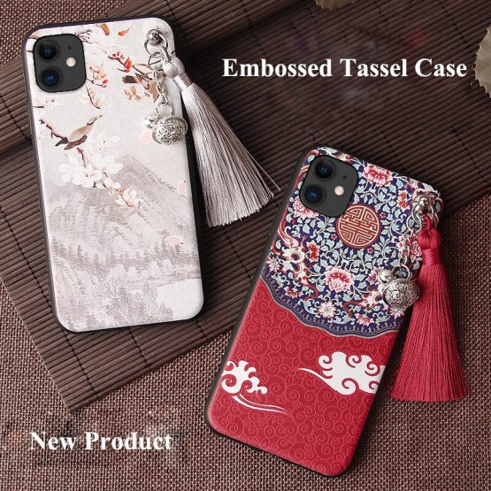 3D Relief Case for iPhone 11 Pro Max XS XR X 10S 7 8 6 6S Plus Case Emboss Tassel Bell Anti-knock Soft Cover for Apple XS Shell