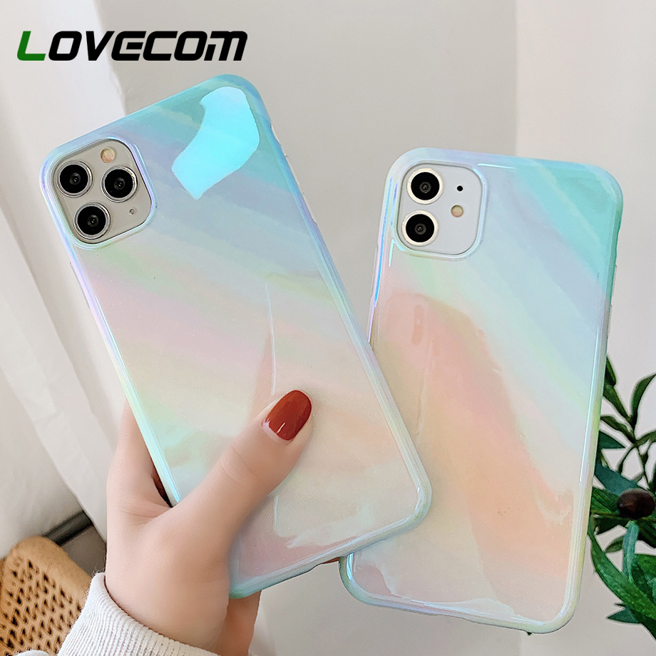 LOVECOM Blu-ray Glitter Phone Case For iPhone 11 Pro Max XR XS Max 7 8 Plus X Soft IMD Glossy Back Cover For iPhone 11 Case Gift